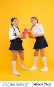 Cheerful school girls. Point out positive aspects starting school create positive anticipation first day class. Bring child school few days prior play playground and get comfortable. Back to school.