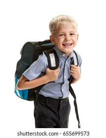 Cheerful schoolboy with knapsack