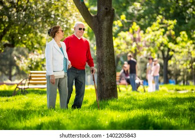 Cheerful senior couple having good time in city park, walking, laughing and enjoying sunny day. Old people wearing color clothes ans sunglasses