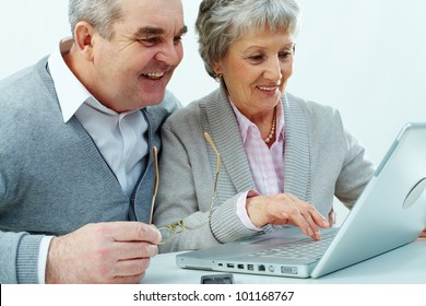 Cheerful senior couple using a laptop