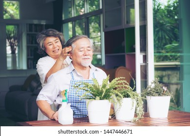 cheerful senior woman massaging head of elderly husband while they are helping to plant trees in pots together at home, senior Asian couple concept