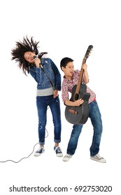 Cheerful siblings performing together, isolated on white