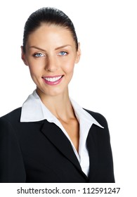 Cheerful smiling business woman, isolated over white background