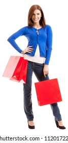 Cheerful smiling woman with red shopping bags, isolated over white background