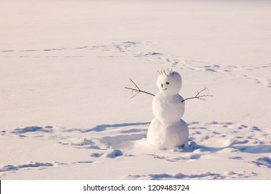 Cheerful snowman in the park. Sunny. Family holiday. Christmas. New Year