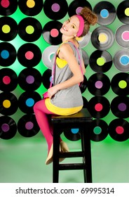 cheerful  teenage girl over colorful background