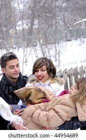 cheerful teenagers in winter season