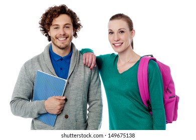 Cheerful trendy college students posing together