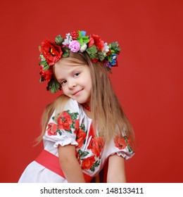 Cheerful ukrainian little girl on Holiday