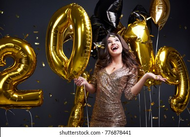 Cheerful woman enjoying at new year's party