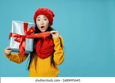 Cheerful woman gift holiday fun party lifestyle