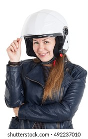 Cheerful woman in leather jacket and white motorcycle helmet with opened visor, isolated on white background