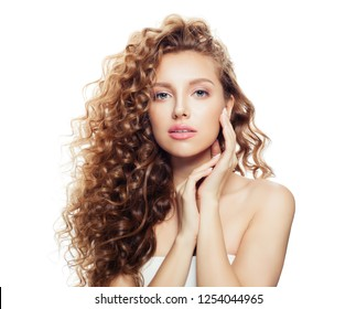 Cheerful woman with long healthy hair isolated on white background. Spa beauty, facial treatment and  cosmetology concept