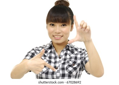 Cheerful woman making hand gesture