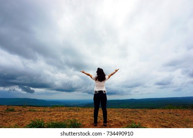 Cheerful woman with nature Cool fresh