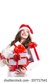 Cheerful Woman Santa and gifts isolated on white background.