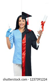 Cheerful woman in two occupations of nurse and university graduate isolated on white background. Happy nurse in uniform with syringe in hand and student graduate wearing mantle and holding diploma.