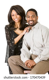 Cheerful Young African American Couple, isolated.