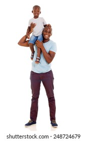 cheerful young african american man carrying son on his shoulder