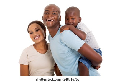 cheerful young black couple with their child isolated on white