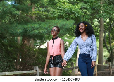 Cheerful young black women holding hands and smiling while walking in the park