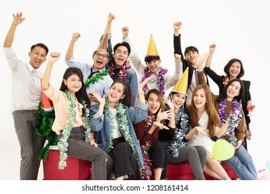 Cheerful of Young Business people celebrating on white background.