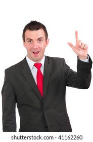 """Cheerful young businessman -""""I have IDEA!"""". Isolated over white."""