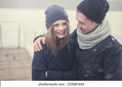 cheerful young couple in love