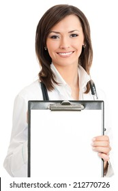 Cheerful young female doctor showing clipboard with copyspace for text or design, isolated over white background