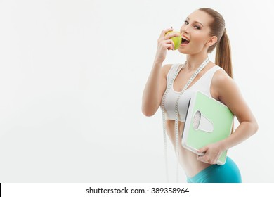 Cheerful young girl prefers healthy lifestyle