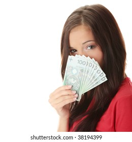 Cheerful young lady holding cash