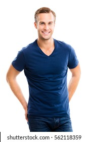 Cheerful young man, isolated over white background. Caucasian male model in studio shoot.