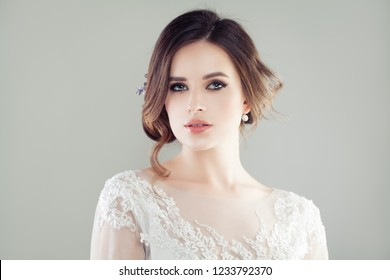 Cheerful young woman with makeup portrait