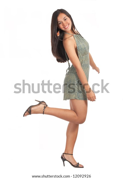 cheerful young woman on her sexy dress