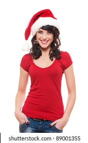 cheerful young woman in red santa's hat. isolated on white background