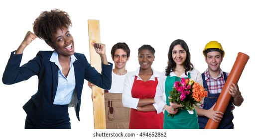 Cheering african american businesswoman with group of other apprentices