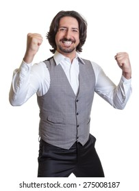 Cheering arabian man