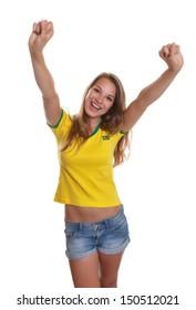 Cheering brazilian soccer supporter
