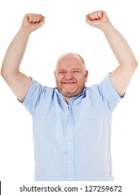 Cheering charismatic middle aged man. All on white background.