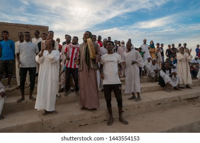 Cheering crowd at a football match in Abri, Sudan - 11 29 2018