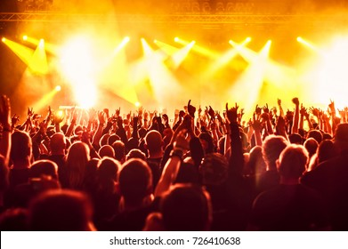 cheering crowd at rock concert in front of bright lights