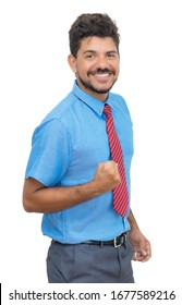 Cheering latin american businessmann with beard and tie isolated on white background for cut out