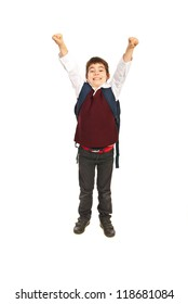 Cheering successful school boy raising hands isolated on white background