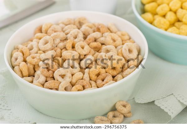 Cheerios - Bowl with cheerios whole grain cereals.