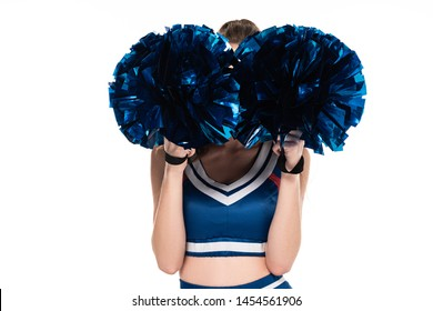 cheerleader girl in blue uniform with obscure face and pompoms isolated on white