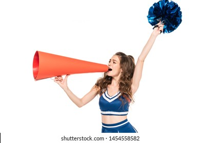 cheerleader girl in blue uniform with pompom using orange megaphone isolated on white