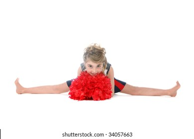 cheerleader girl doing a split and holding pompom