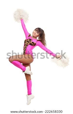 Cheerleader Girl Pose Standing With Pom Pom Pretty Flexible Girl Pink Leo Costume