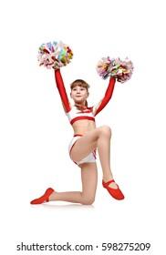 cheerleader girl in uniform kneeling with pompons