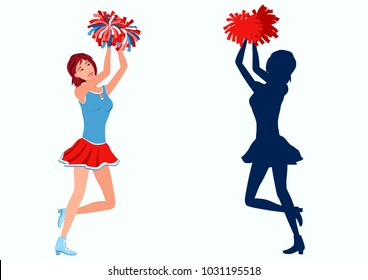 Cheerleader with pom-poms and her silhouette. Raster version.